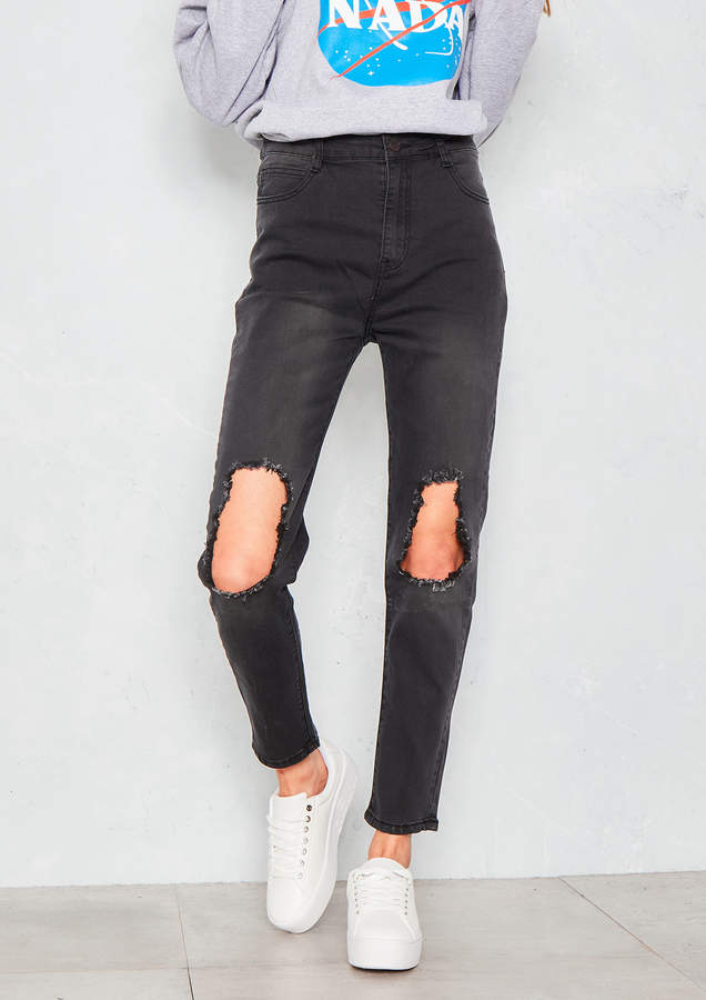 Ever New Norine Black Denim Distressed Ripped Knee Jeans