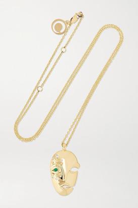 KHIRY Fine - Mask 18-karat Gold, Diamond And Emerald Necklace - one size