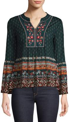 Style&Co. Style & Co. Petite Printed Bell-Sleeve Top