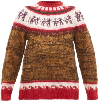 Miu Miu Alpaca-jacquard Sweater - Brown Multi