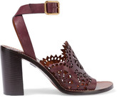 Chloé Laser-cut Leather Sandals - Burgundy
