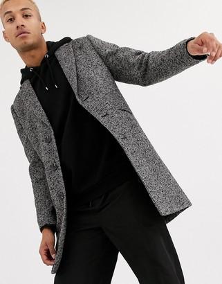Asos Design DESIGN wool mix overcoat in grey texture
