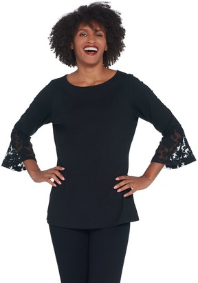 Belle by Kim Gravel TripleLuxe Geometric Lace Sleeve Top