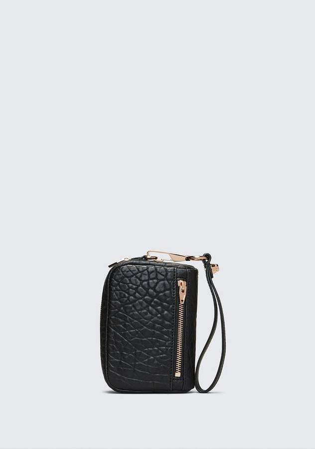Alexander Wang LARGE FUMO IN PEBBLED BLACK WITH ROSE GOLD