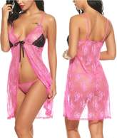 Avidlove Women Sexy Lingerie Floral Lace Babydoll Set Open Front Sleepwear Nightwear