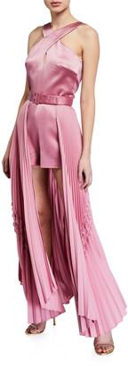 Alexis Ambra Halter Romper w/ Pleated Skirt Overlay
