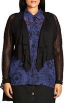City Chic Mesh Sleeve Cropped Cardigan