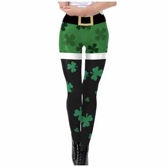 Atcool Women Clover Leggings for St Patricks Day High Waisted Slim Fit Casual Jeggings Yoga Workout Fitness Pants (S