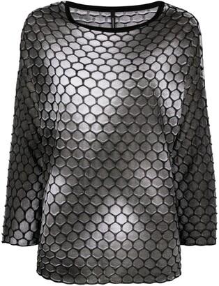 Pierantonio Gaspari Hexagon Textured Long-Sleeve Top