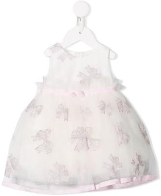 MonnaLisa Glitter Bow Print Party Dress