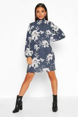 boohoo Shirred Neck & Cuff Easy Fit Dress
