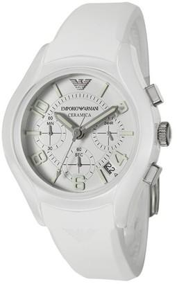 Giorgio Armani Emporio Men's AR1431 'Ceramica' Chronograph White Silicone Watch - silver