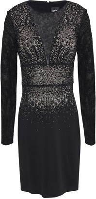 Just Cavalli Flocked Mesh-paneled Embellished Stretch-jersey Mini Dress