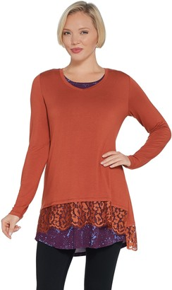 Logo by Lori Goldstein Knit Top with Lace & Printed Tank Twin Set