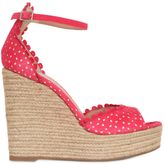 Tabitha Simmons 130mm Lace Effect Leather Wedge Sandals