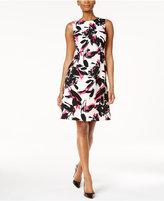 Kasper Printed Fit & Flare Dress