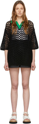 3.1 Phillip Lim Black Wool Open Knit Polo Dress