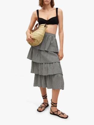 MANGO Gingham Print Tiered Ruffle Midi Skirt, Black
