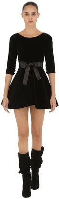 Capelli of New York Cc By Camilla VELVET MINI DRESS WITH LEATHER BELT
