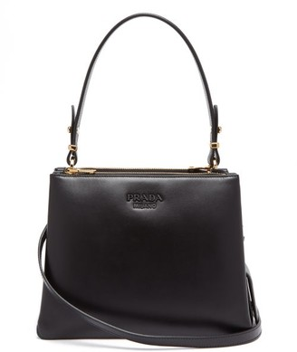 Prada Deux Leather Cross-body Bag - Black