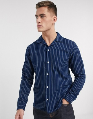 Jack and Jones revere collar one pocket stripe shirt in navy