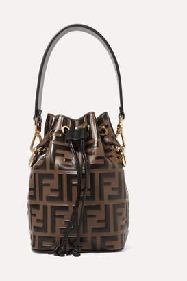 Fendi Mon Tresor Mini Embossed Leather Bucket Bag - Brown