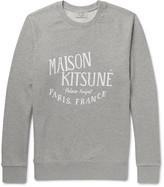 MAISON KITSUNÉ Printed Mélange Loopback Cotton-Jersey Sweatshirt
