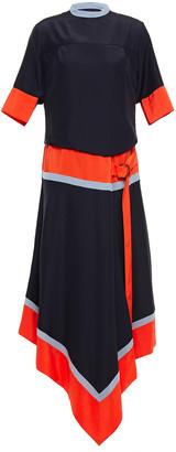 Victoria Victoria Beckham Asymmetric Color-block Crepe De Chine Midi Dress