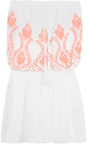 Melissa Odabash Fruley Crochet-trimmed Embroidered Voile Dress - White