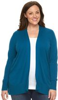 Croft & Barrow Plus Size Essential Solid Open-Front Cardigan