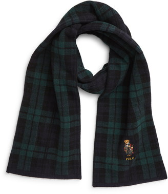 Polo Ralph Lauren Bear Tartan Plaid Scarf