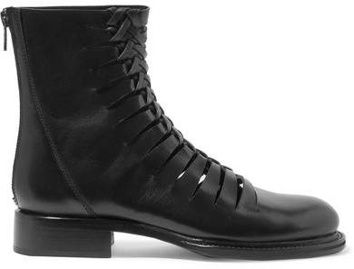 Ann Demeulemeester Cutout Leather Ankle Boots - Black