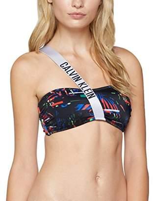 Calvin Klein Women's Strap Bandeau-rp Bikini Top,14 (Size: Large)