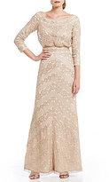 Tadashi Shoji Off-The-Shoulder Sequin Blouson Gown