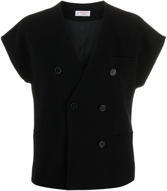 Alberto Biani Double-Breasted Short-Sleeved Blouse