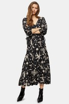 Topshop Black And White Dandelion Tie Midi Wrap Dress
