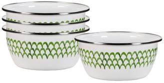 Pottery Barn Golden Rabbit Green Scallop Enamel Individual Bowls - Set of 4