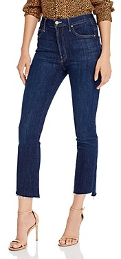 Mother Insider Step Crop Fray Jeans in Clean Sweep