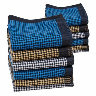 Houlife Mens Handkerchiefs 100% Cotton 60S Classic Stripe Checkered Pattern Coloured Plaid Hankies for Dad Grandad Father's Day Gift 6/12 Pieces 43x43cm