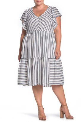 Caslon Striped Flutter Sleeve Midi Dress (Plus Size)