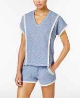 Lucky Brand Brushed Terry Pajama Poncho with Fringe
