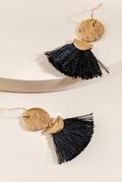 francesca's Indra Circle Fan Tassel Earrings - Black