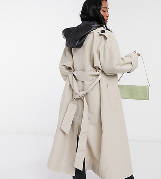 ASOS DESIGN Petite trench coat with detachable leather look hood in stone