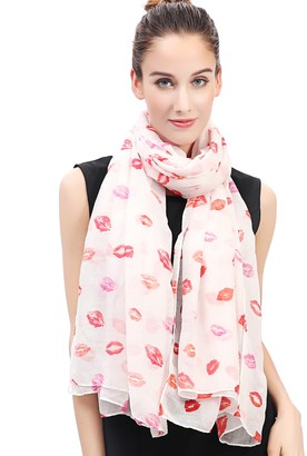 Lina & Lily Lips Kiss Print Women's Large Scarf (White/Red/Pink)