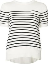 Sacai striped cupro insert knitted top - women - Polyester/Cupro/Cotton - 1