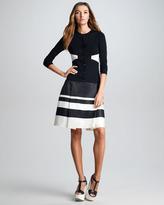 Jil Sander Navy Striped Border Silk Skirt