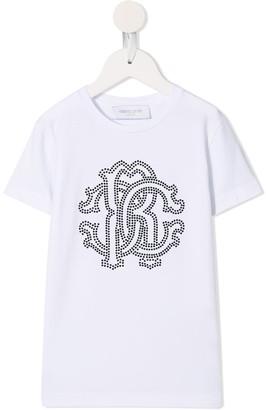 Roberto Cavalli Junior sequinned logo T-shirt