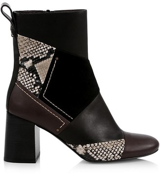 See by Chloe Tyra Patchwork Snakeskin-Embossed Leather Ankle Boots