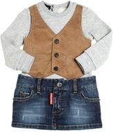 DSQUARED2 Bodysuit W/ Corduroy Vest & Denim Skirt