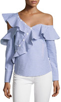 Self-Portrait Striped Frill Asymmetric Shirt, Navy/White